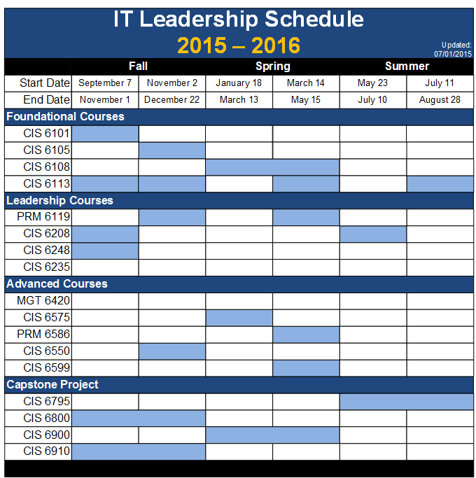IT Leadership Schedule