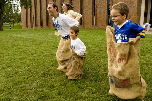 Homecoming celebrants participate in games as a family in the