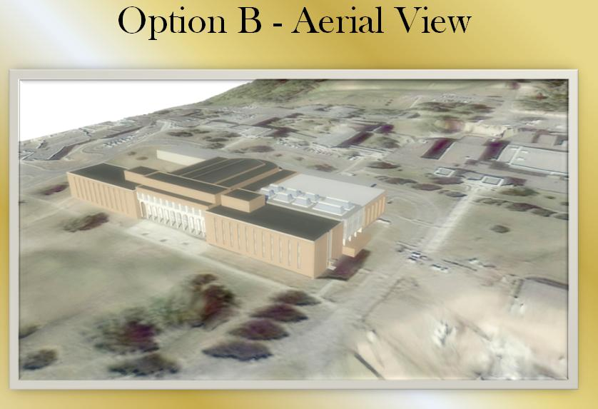 Aerial view of Option B expansion to the Science Center