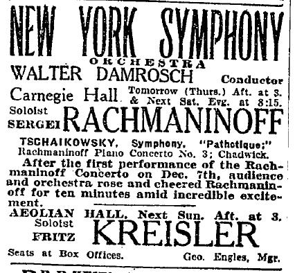 An ad that appeared in the New York Times on the day before his Carnegie Hall conccert.