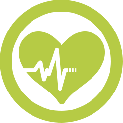 Icon of a heart rythm in a heart representing the direct entry path