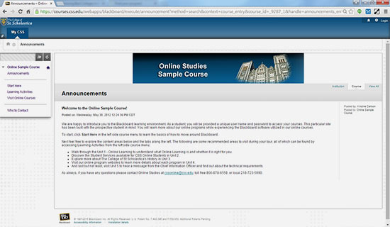 Screen shot of online studies sample course at CSS