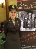 Roxanne Backowski in her librarian military uniform