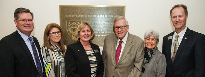 Stender family with President McDonald and Dean Rick Revoir during the Stender School of Business and Technology naming ceremony