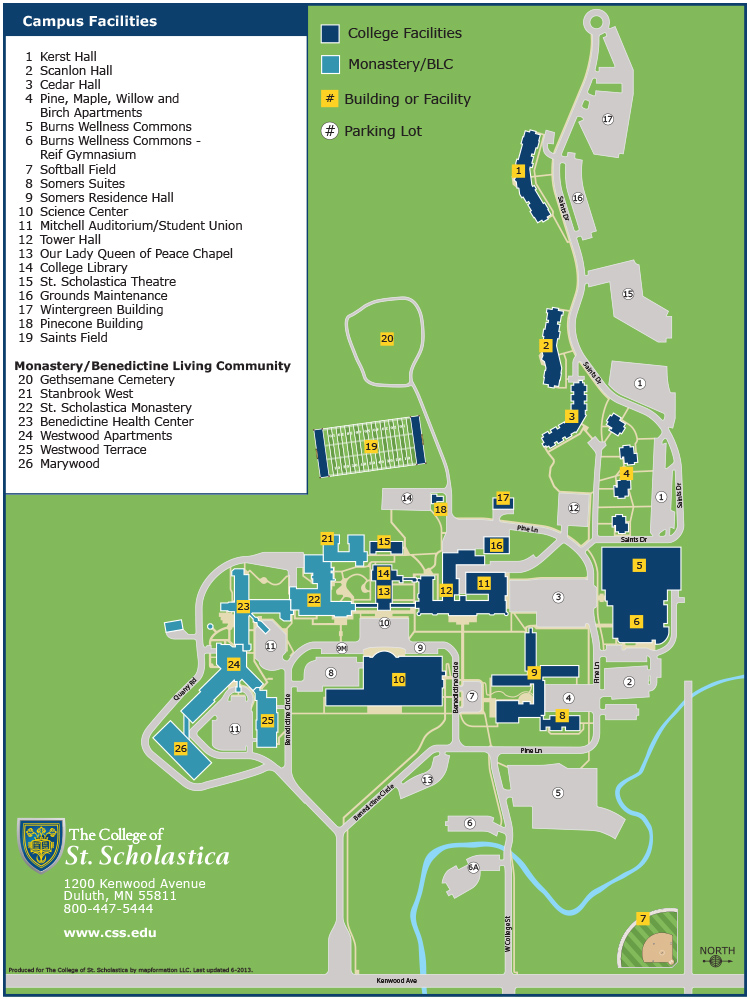 Duluth Campus Building and Parking Map