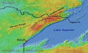 Duluth is rich in copper and nickel. The red region shows the Duluth Mining Complex, the Earth's largest undeveloped copper-nickel deposit.