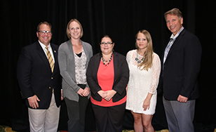 From left: Torrey Barnhouse, chair of the AHIMA Foundation; St. Scholastica alumni Jennifer Robertson, Theresa Wilkes and Ashley Lackner, and Bill Rudman, AHIMA's VP for Education and Executive Director of the AHIMA  Foundation.