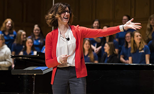 Assistant director of Choral Activities Sarah Ludwig. Photos by Derek Montgomery, courtesy of Minnesota Public Radio