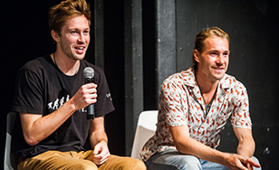 Alumni Chris Parr and Harris Dirnberger, known collectively as Flutter Brothers Productions, spoke at the festival.