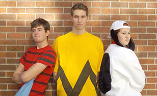 L-R: Landon Hall as Linus, Michael Bruner as Charlie Brown, and Alissa Lieder as Snoopy.