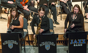 The Jazz Band performs at a Homecoming concert.