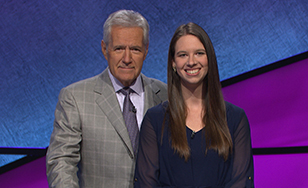 """Jeopardy!"" host Alex Trebek with Emily Lewis"