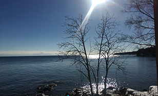 Contemplative view of Lake Superior.