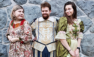 Mistress Page (Kendra Manges), Sir John Falstaff (Mitchell Gertken), and Mistress Ford (Keely Jackson)