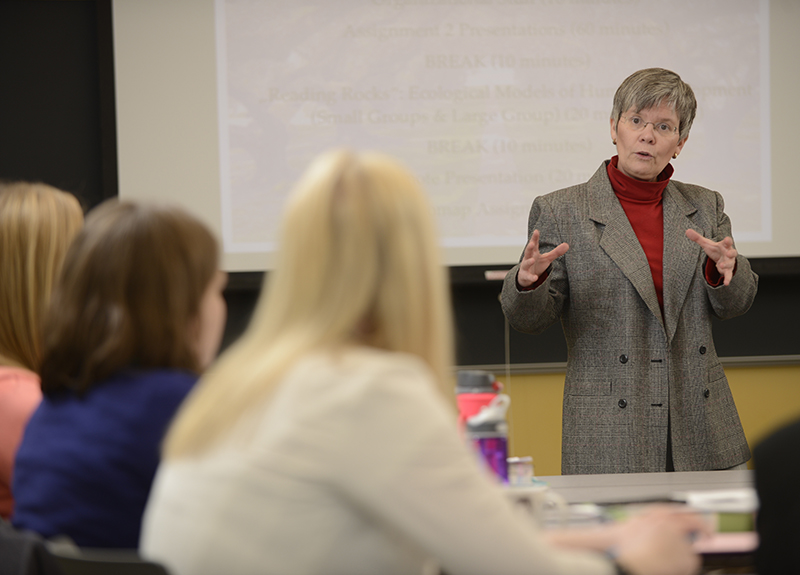 Associate social work professor Connie Gunderson in the classroom.