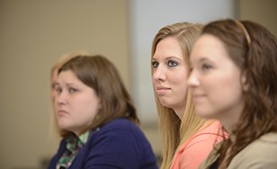 Students in a Master of Social Work class.