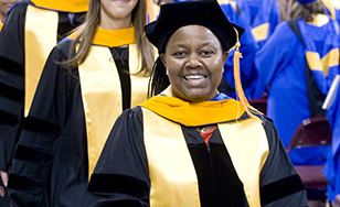 Judy Mutie at Spring 2015 commencement