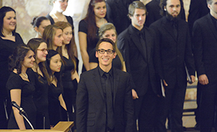 Choral Activities Director Bret Amundson with choir