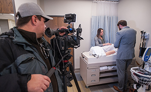 Students perform demonstrations of the Nursing Simulation Lab facilities.