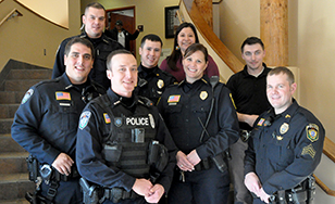 Sara Rice with other tribal police officers at the Mille Lacs Band Government Center.