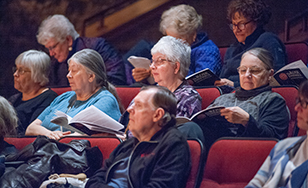 Sisters from St. Scholastica Monastery enjoy the Rose Ensemble performance on campus.
