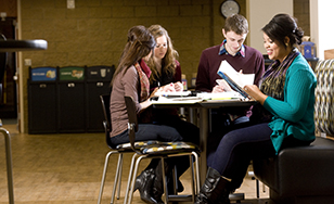 A group of students studying in Storm's Den.