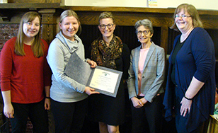 Student Employee of the Year Sydney Slagter, second from left, with Foundation and Government Relations Department staff members Katie Morford, Amanda Abrahamson Roseth, Janet Rosen, and Senior Financial Aid Counselor Jonna Marholz.
