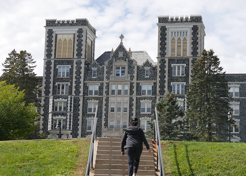 A student ascends steps toward Tower Hall on Move-In Day.