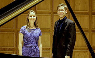 Pianists Emily Valine and David Packa.