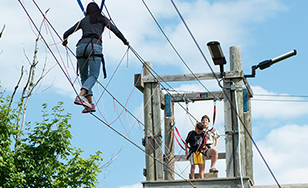 A ropes course is part of the activities at the Youth Theology Institute.