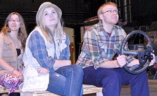 Front seat: Krissy Rootes (Evelyn) and Jake Spartz (Talmadge). Back seat: Lindsey Bushnell (Ramona).