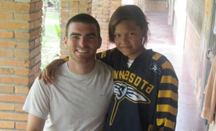 Dan Sonday posing with a girl from the medical facility in Honduras.
