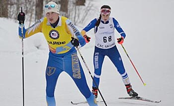 Mia Zutter skiing with her guide at the CCSA races in Cable, WI.