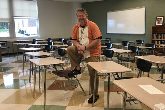 Wade Petrich in the classroom