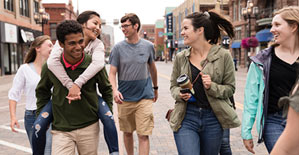 Students walking down the street in Duluth