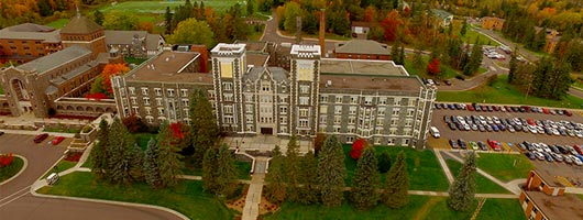 Aerial view of Tower Hall