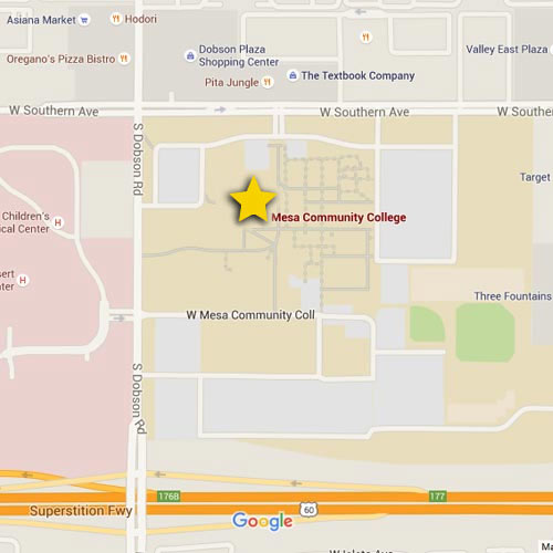 Map showing Arizona campus location | Mesa Community College