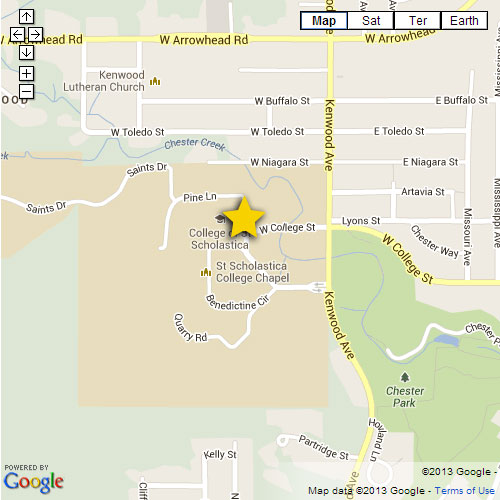 Map image showing location of the main campus
