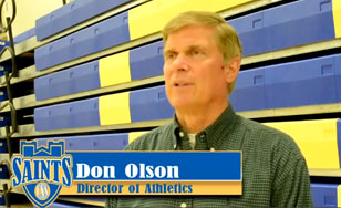 Video of Athletic Director Don Olson talking about the slick new blue-and-gold seating in the campus gym.