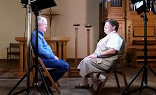 Sister Lisa being interviewed
