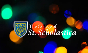 The College of St. Scholastica logo on a festive holiday background