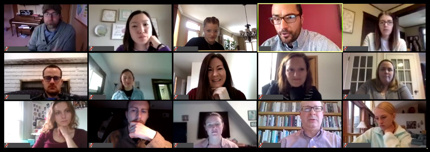 Students and faculty participating in a virtual class via Zoom