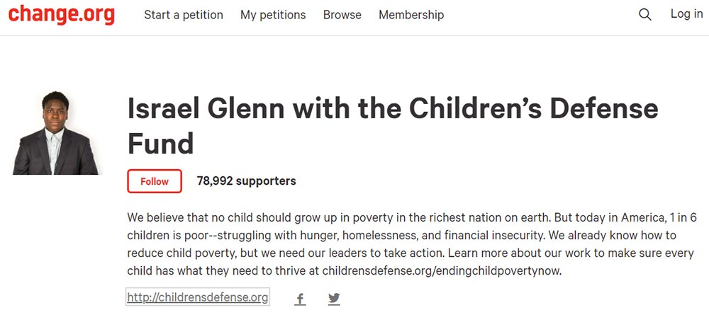 Print screen of the Children's Defense Fund featuring Israel Glenn