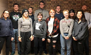 Group photo: Front row, from left: Kara Thoemke, Ashlie Johnson, Sadie Nowak, Chloe Larson, Erin Burke, Anna Toetsch. Back row, from left: Nathan Schacht, Alex Larson, Matt Hoyt, Eric Jeffords, Anna Sohlstrom, Daniel Westholm.