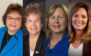 Presidents Stephanie Hammitt; Patricia Rogers; Barbara McDonald; Chancellor Renée Wachter