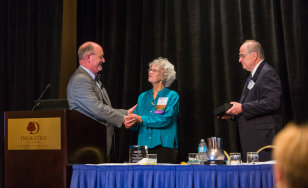 L-R: Edward P. Ehlinger, Commissioner of Health; Martha Witrak, dean of The College of St. Scholastica School of Nursing; Marty LaVenture, Director of the Office of Health Information Technology. Photo courtesy of the Minnesota Department of Health