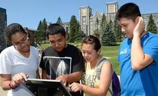 Students explore the St. Scholastica campus during the Discover Duluth event.