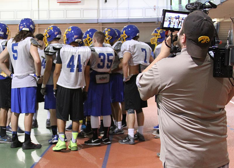 "Fox Sports News films practice for the new football show, ""Inside the Huddle"""