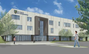 Architectural rendering of the new St. Scholastica Health Science Pavilion.
