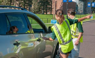 Team Delta assist in directing new students to parking lots